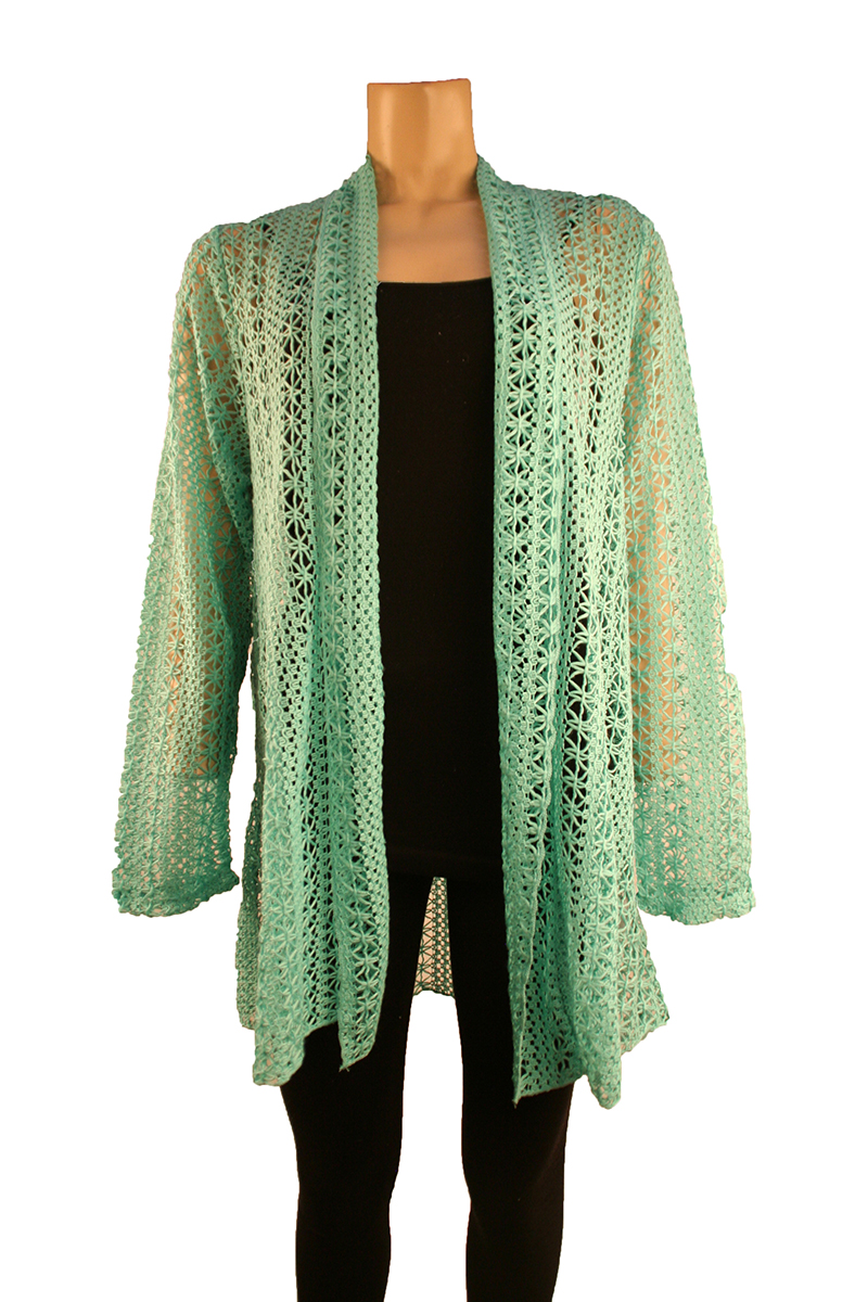 Open Front Knit Cardigan in Mint