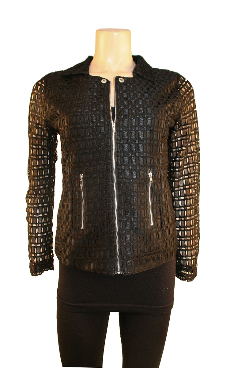 Lace Hooded Jacket in Black