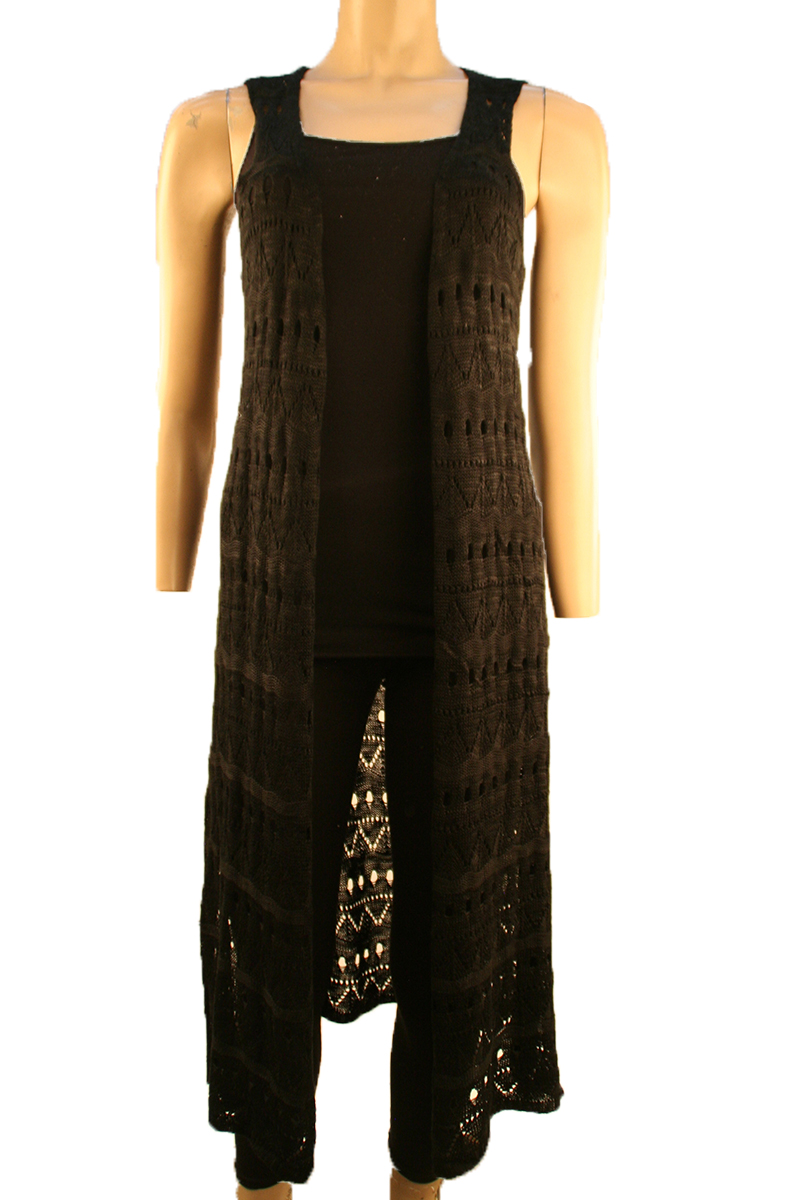 Open Front Long Knit Vest