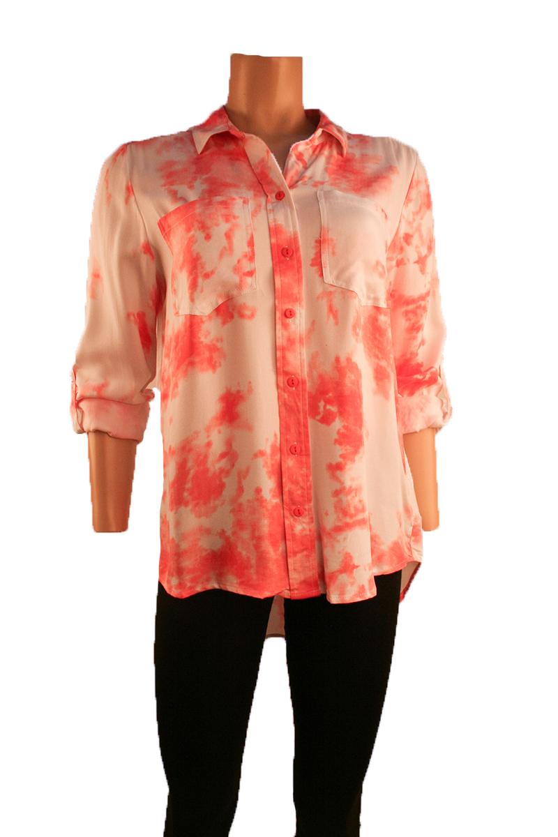 Tie Dye With Roll Sleeved Top in Coral