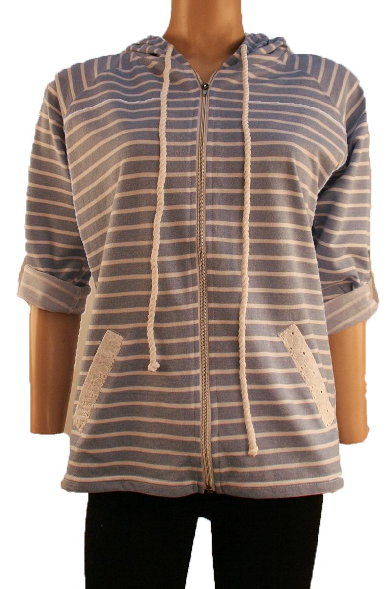 Striped Hooded Jacket in Blue