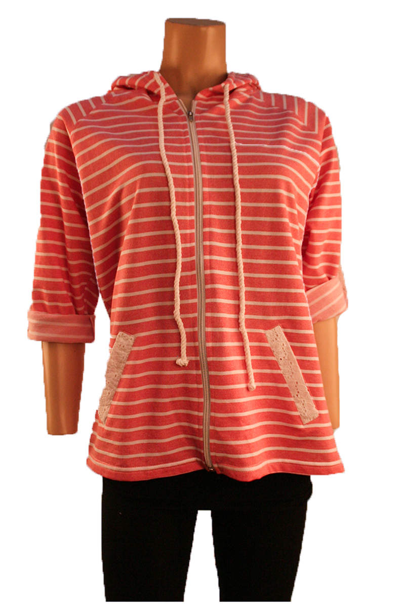 Striped Hooded Jacket in Rose