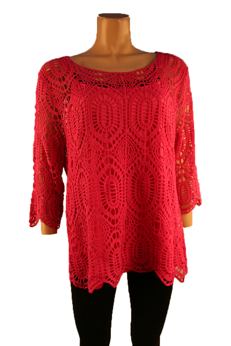 Lace Pullover in Hot Pink