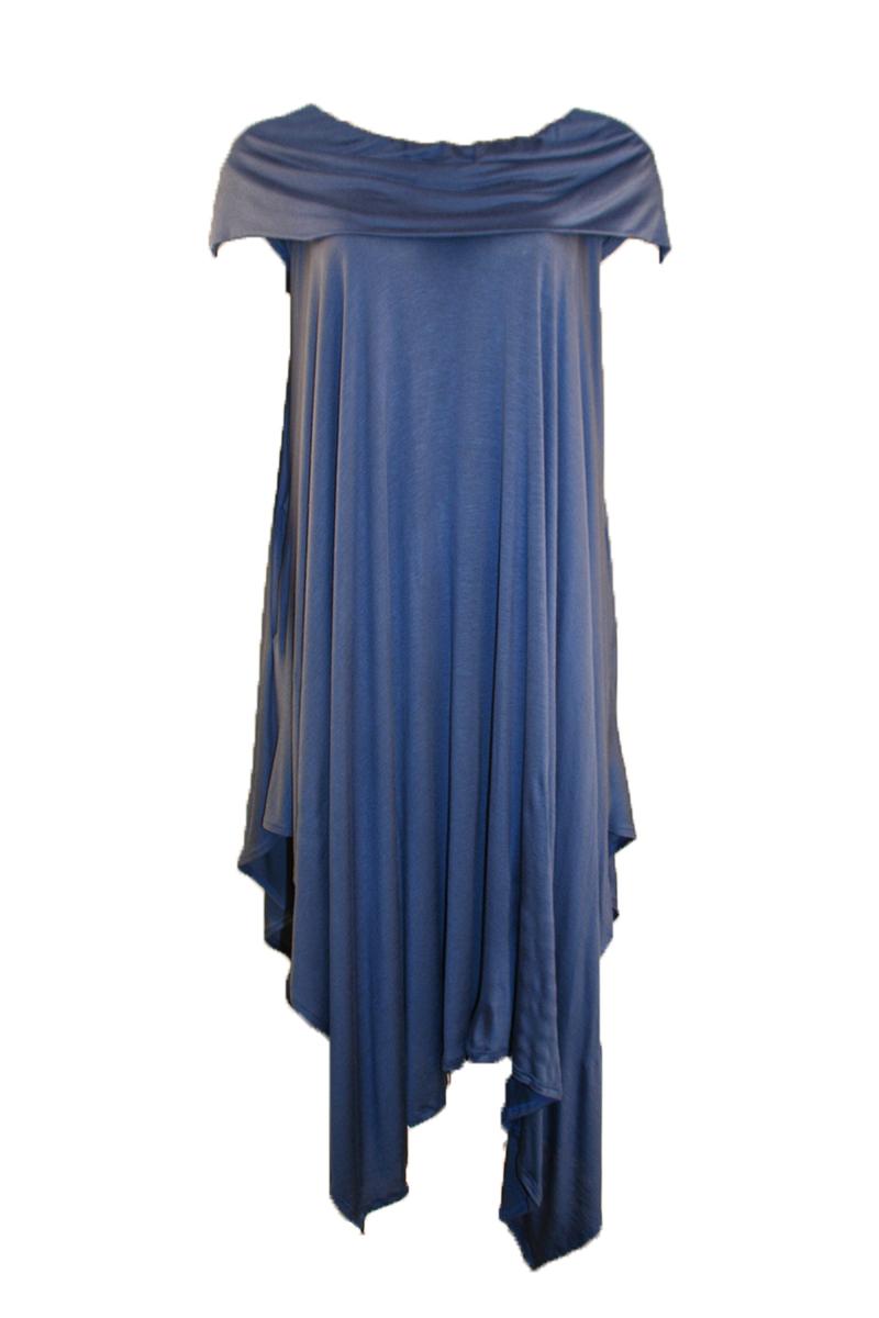 Off Shoulder Bandeau Dress in Denim