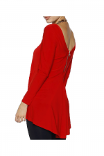 Double Scoop Swing Blouse in Red