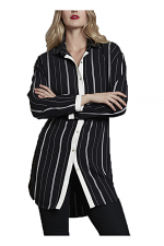 Striped Snap Front Tunic Top