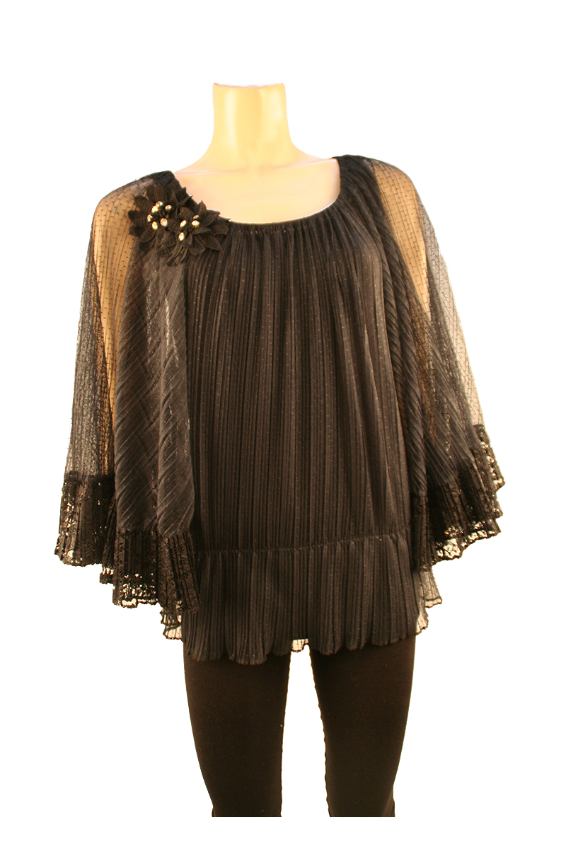 Sheer Top With Gathered Waist in Black