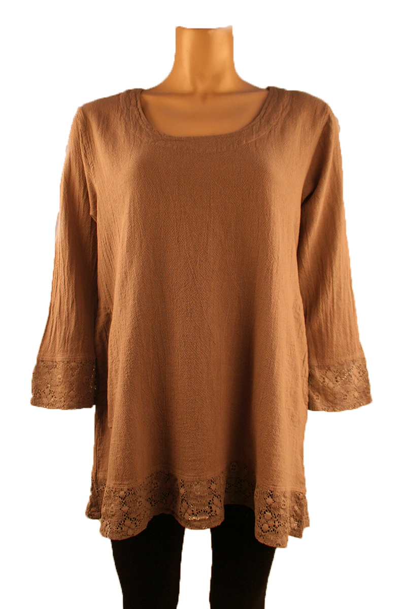 Top with Lace Trim in Taupe