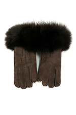 Sheepskin Gloves with Fox Trim in Brown