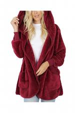 Plus Hooded Faux Fur Sweater Jacket