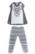 Kids Print Top & Striped Pants With Stones