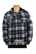 Men's Checker Fleece Sherpa Lined Hoodie