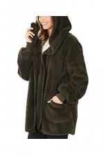 Hooded Faux Fur Sweater Jacket