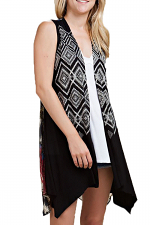 Aztec Print Vest with Semi Sheer Back & Stone