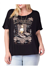 Laser Cut Short Sleeve Top with Cowboy Boots