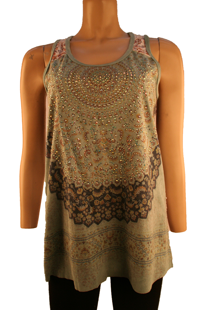 Back Lace Tank with Stones in Sage