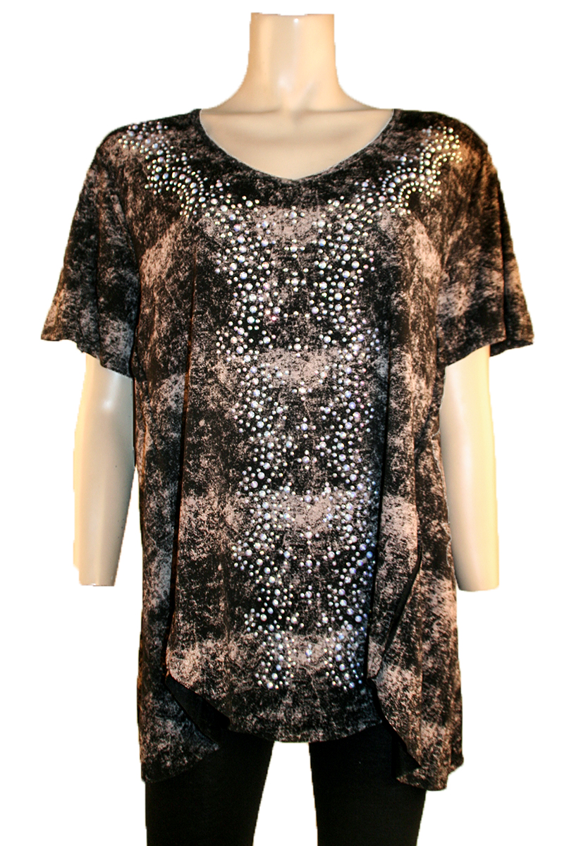 Short Sleeve Black Top with Stones