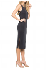Body Back Strap Longline Dress in Black
