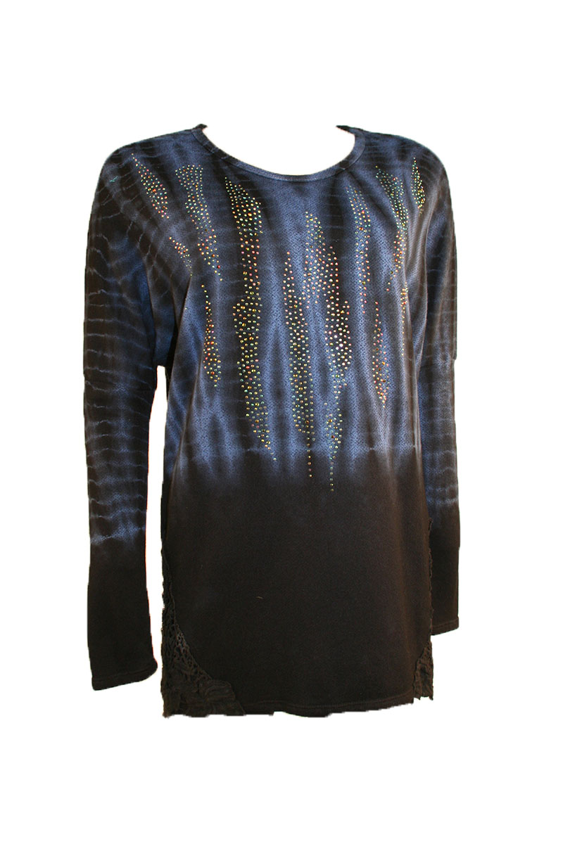 Long Sleeve Tie Dye With Stones
