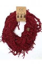 Chenille Net Tassle Fringe Thick Knit Infinity Scarf Wrap