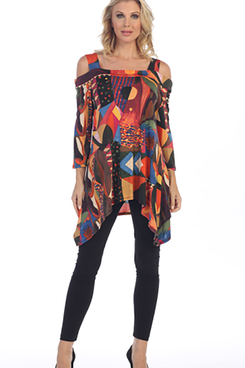 Cold Shoulder Tunic Orange and Multi