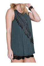 Basic Tank Top With Print & Stones