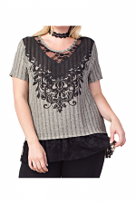 Short Sleeves Plus Top With Print & Stones