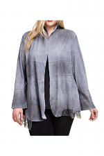 Open Front Faux Suede Jacket With Lace