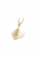 Hammered Gold Pendant Necklace with Diamond Accent