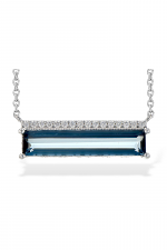 London Blue Topaz Abstract Necklace with Diamond Accents