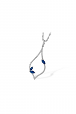 Diamond Pendant Necklace with Sapphire Accents