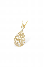 Filigree Teardrop Gold Necklace with Diamond Accents