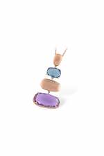 Abstract Pendant Necklace with Topaz & Amethyst