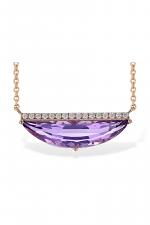 Abstract Amethyst & Diamond Pendant Necklace