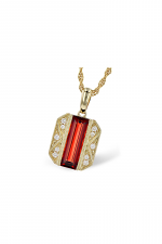 Antiqued Yellow Gold Pendant Necklace with Garnet & Diamonds