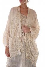 European Linen Embroidered Eyelet Cleo Short Kimono