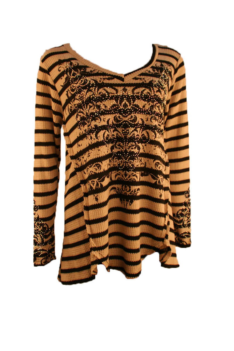 Long Sleeve Stripe V-Neck with Stones