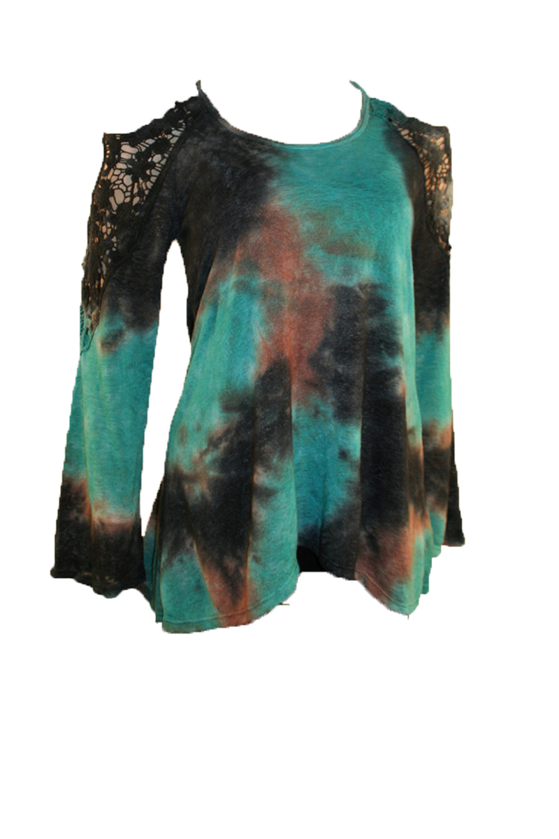 Shoulder Butterfly Tie Dye L/S Top