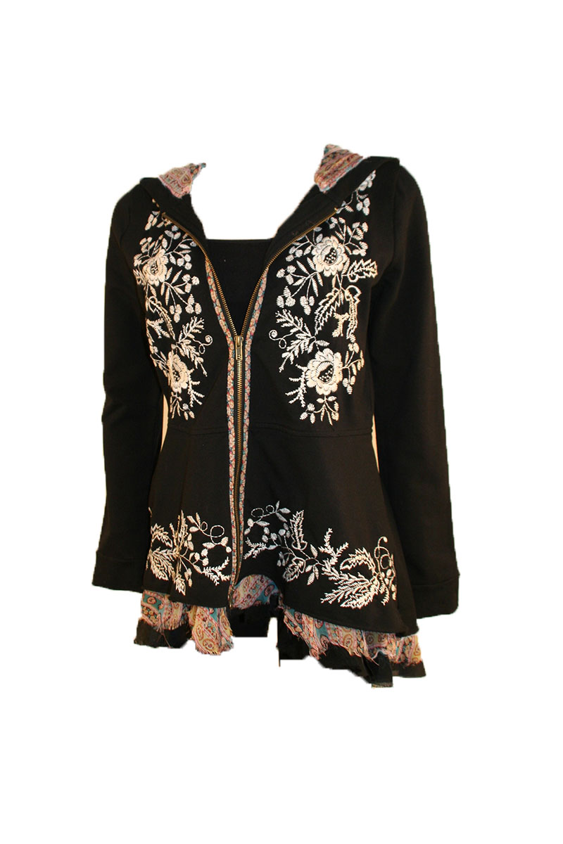 Embroidered Peplum Hoodie in Black