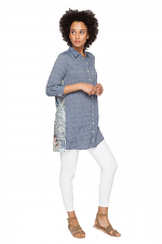 Laite Scarf Back Tunic in Chambray
