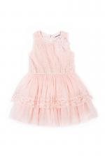 Coral Lace Floral-Accent A-Line Dress
