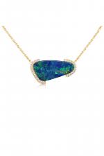 14K Yellow Gold Australian Opal Doublet/Diamond Neckpiece