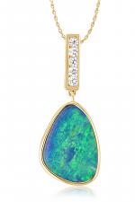 14K White Gold Australian Opal Doublet/Diamond Pendant