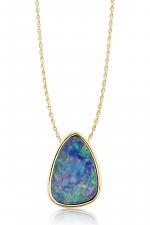 14K Yellow Gold Australian Opal Doublet Hidden Bail Pendant