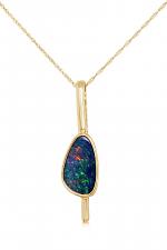 14K Yellow Gold Australian Opal Doublet Pendant