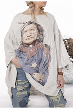 Quilted Oversized French Linen Francis Pullover with Native Law Graphic