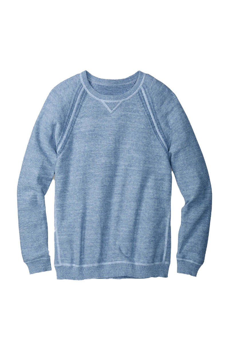 Sandy Bay Reversible Crew Sweater in Fresh Air