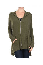 French Terry Span With Zipper Hoodie in Olive