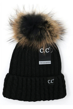 Cable Knit Ribbed Matching Fur Pom Beanie