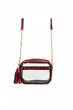 Natalia Stud & Tassel Detailed Clear Mini Crossbody Bag